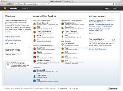 AWS Management Consoleのホーム画面